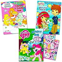 Classic Colouring Books For Girls -- Set of 3 Books Featuring Care Bears, Strawberry Shortcake and My Little Pony with Stickers