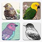 木製 コースター 4枚セット 綺麗な絵柄に木製! 絵画風の鳥 Bird tree-05-07-08-09