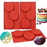 BAKER DEPOT 3 Pack Silicone Moulds for Resin Coaster 3 Holes 4 Inch Disc Cake Baking Pan Non Stick Large Round Dessert Hambur