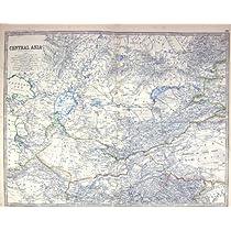 ジョンソンの骨董品の地図C1877アジアTurkestanアラル海のアフガニスタンの首長のガージー
