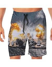 メンズ水着 ビーチショーツ ショートパンツ 船戦い スイムショーツ サーフトランクス 速乾 水陸両用 調節可能