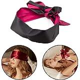 SMアイマスク 目隠し SM拘束具 手錠 足枷 多機能 SMプレイ シルク質 コスプレ さまざまな情熱の経験 (黒+レッド)