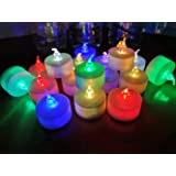 24 Pack LED Tea lights Candles ? 7 Color Changing Flameless Tealight Candle ? Long Lasting Battery Operated Fake Candles ? De