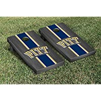 University of Pittsburgh Panthers regulation Cornhole Game SetオニキスStainedストライプバージョン