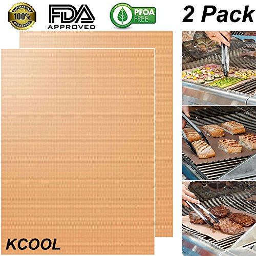 KCOOL BBQグリルマット 焼き肉用 バーベキュー bbqシート 炭火炉、天火、蒸焼き器、オーブン、電子レンジにも適用 二枚セット