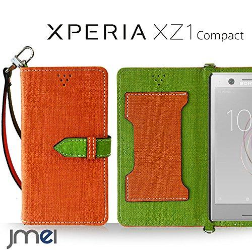 Xperia XZ1 Compact ケース SO-02K手帳型 エクスペリア xz1 コンパクト カバー ブランド 手帳 閉じたまま通話ケース VESTA オレンジ Sony ソニー simフリー スマホ カバー 携帯ケース 手帳型 スマホケース 全機種対応 ショルダー スマートフォン