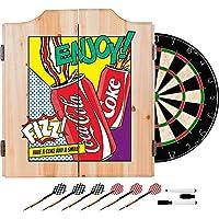 Coca Cola Popアート缶デザインデラックスソリッド木製キャビネットComplete Dartセット–Chooseカラー。(レッド)