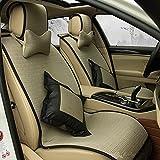 (ファーストクラス)FirstClass エアバッグホールあり ビスコース フルセット フロント リア シートクッション 車シートカバー カ―キ色 汎用 A4 フィアット ベンツ マキシマ マツダ 10pcs