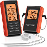 Wireless Meat Thermometer, Tranmix Remote Digital Cooking Food Meat Thermometer with Dual Probes for Smoker Grilling Oven BBQ
