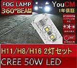 [YOUCM]Suzuki スイフト H16.11〜H19.4 ZC・ZD11・21系 スポーツ含む CREEチップ H11 50W フォグランプ専用 車検対応LED[1年保証]