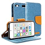 iPod touch 6 ケース手帳, GMYLE Wallet Case Classic iPod touch 6 專用 - Shakespeare Blue & Brown PUレザーケースカバースタンド