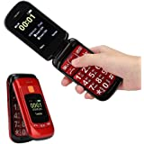 フリップ携帯電話、2.4インチのタッチスクリーン音声電話多機能の赤いシニアフリップ携帯電話、高齢者、子供、大人向けのデュアルSIMカードをサポート(US)