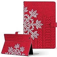 igcase MediaPad T2 10.0 Pro Huawei ファーウェイ SIM MediaPad メディアパッド タブレット 手帳型 タブレットケース タブレットカバー カバー レザー ケース 手帳タイプ フリップ ダイアリー 二つ折り 直接貼り付けタイプ 004684 ラブリー 雪 結晶 赤