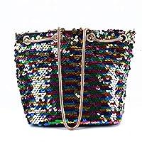 Sevenfly 女性のスパンコール小さな正方形のバッグショルダーバッグ化粧品携帯電話収納袋、色