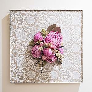 壁に咲く花 ピンク芍薬L