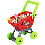 Shopping Cart, Toy Shopping Market with Pretend Play Food Accessories for Kids 3+ (22Piece)