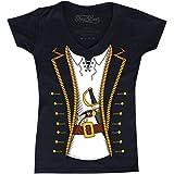 shop4ever Pirate Skull & Crossbones Women's V-Neck Pirate Flag Shirts Slim FIT