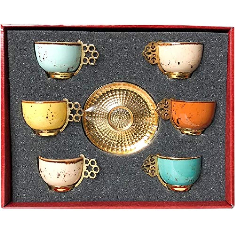 12 pcトルコギリシャアラビアコーヒーエスプレッソカップソーサー磁器セットミックスカラー
