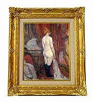 世界の名画 ロートレック 鏡の前の女性 ジクレーキャンバス複製画F3号豪華額装品