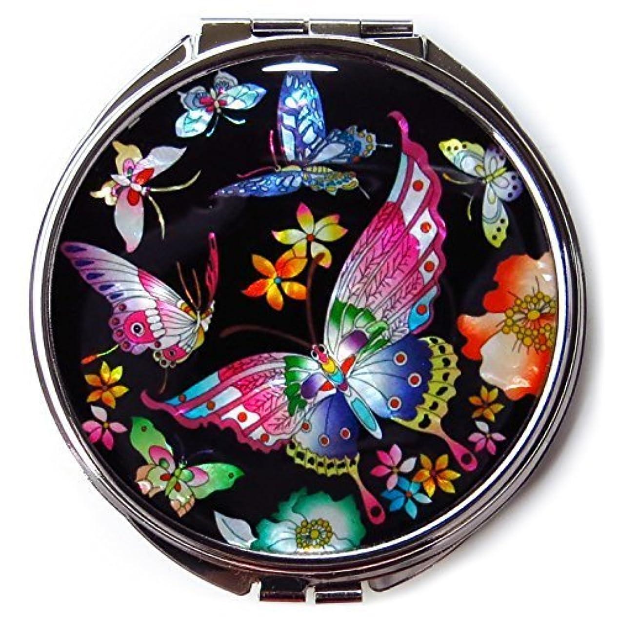 MADDesign #3黒真珠金属蝶の韓国化粧コンパクトミラー母 黒、赤、黄、青、ピンク、緑、紫 [並行輸入品]
