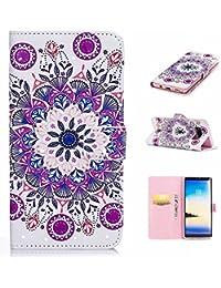 Galaxy Note 8ケース CUSKING ギャラクシ ーノート8 手帳ケース カード収納付き PUレザー アニメ かわいい 財布型 カバー ノート型 フリップ 保護ケース - パープル, トーテム