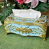 ヨーロッパスタイル 豪華な ローズ ティッシュボックス ホルダーカバー 電気メッキ プロセス ティッシュホルダー (金蓝)