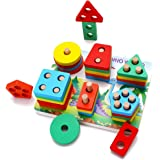 DalosDream Wooden shape sorter Educational Preschool Toddler Toys for 1 2 3 45 Year Old Boys Girls Gifts Shape Color Recognit