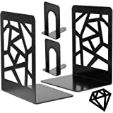 Bookends Book Ends Metal Bookend Decorative Heavy Duty Book End for Shelve, Black Book Supports Non-Skid Book Stopper Geometr