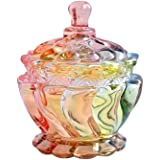 SOCOSY Royal Embossed Clear Glass Apothecary Jar With Lids, Candy Jar Containers Wedding Candy Buffet Jars Crystal Jewelry Bo