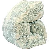 昭和西川 羽毛布団 国産 シングル グリーン ホワイトダウン90% 増量1.3kg ダウンパワー360dp以上 二層(ツイン)キルト 国内パワーアップ加工 未圧縮