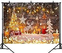 GooEoo 10×8FT(300×240CM)クリスマステーマの背景木製の壁クリスマスツリーシームレスなビニール写真写真背景スタジオプロップPGT278C