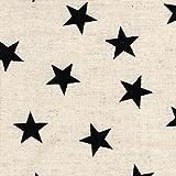【綿麻キャンバス プリント】☆星☆ 8色あります 1m単位で切り売りいたします (生成系)