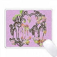花のハートデザイン。エキゾチックな花。ピンク。装飾。人気イメージ PC Mouse Pad パソコン マウスパッド