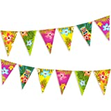 FEPITO 2 Pack Hawaiian Bunting Banners Luau Tropical Bunting 6 Meters for Summer Luau Tiki Beach Party Decorations