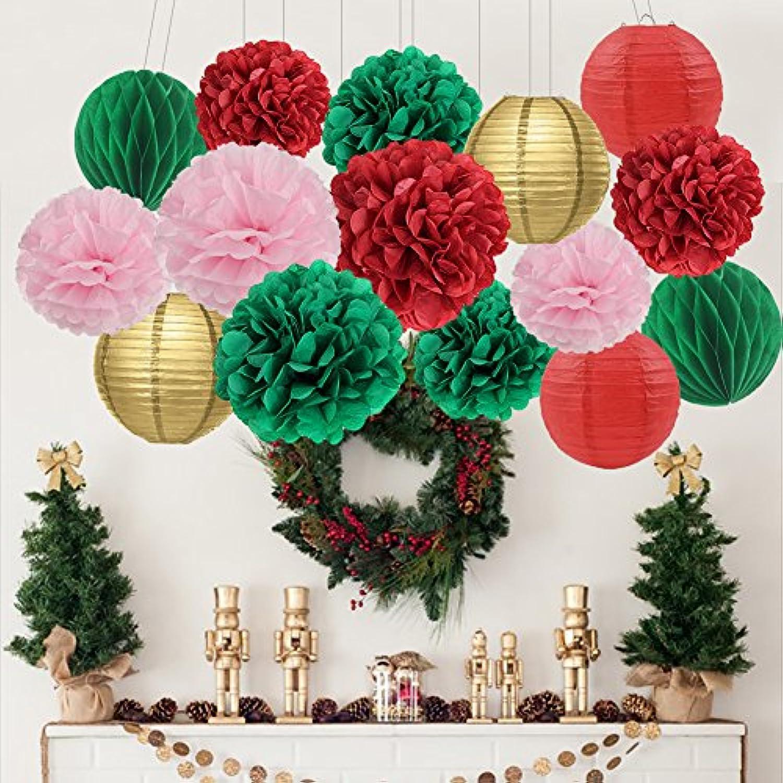 Furuix 誕生日 飾り付け  パーティー 飾り 15点 結婚式 飾り ペーパーポンポン 提灯  ペーパーフラワー  ハニカムボール レッド グリーン ゴールド ピンク