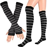 Song Qing Women Knitted Stretch Striped Socks Knee High Stockings Long Arm Warmer Fingerless Mitten Gloves