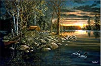 """セラミックタイル壁画–Wake Up Call–By Jim Hansel–キッチンBacksplash /バスルームシャワー 15 Tile Mural on 6"""" Tile 15-361-3018-6C"""