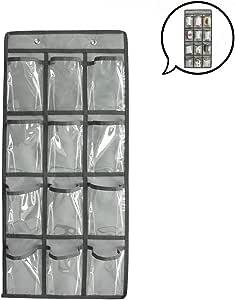 SURCHAR ウォール ポケット カレンダーポケット クリア 壁掛け 収納 ポケット 透明ポケットカレンダー 吊り下げ ポケット クローゼット 小物 収納 ポケット 収納袋 フック付き 2サイズ 12/36 ポケット (グレー,12格)