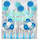 Birthday Party Decorations Cambo kit for Girls Boys Supplies with Banner, Balloons, Pom Poms Flowers, Foil Fringe Curtain, Paper Tassels