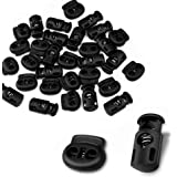 CousDUoBe 30 Pcs Plastic Cord Locks End Spring Stopper,Suit for Drawstrings, Bags, Shoelaces, Clothing, More (15 Double-Hole,