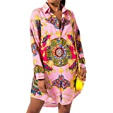 lexiart Sexy Collar Shirt Dresses - Fall Fashion Floral African Button Down Shirts Dresses for Women Blouse Tops Mini Dress