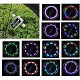 Vincilee Bicycle Wheel Lights, Bicycle Spoke Lights, Outdoor Bike Safety Accessories Bike Wheel Lights 30 Kinds of Change Patterns, LED Light Bulbs , Completely Waterproof Black Appe(1pack