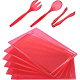 """24 Pack Plastic Clear Red Serving Tray with Disposable Utensils, 6 Rectangle Platter 15"""" x 10"""", 6 Serving Spoons 10"""", 6 Servi"""