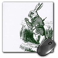 3dRose LLC 8x 8x 0.25インチ マウスパッド 不思議の国のアリス ホワイトラビットラテ ( mp _ 179093_ 1)