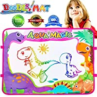 Duperym Aqua Doodle Water Mat Dinosaur Magic Writing Mat Children Painting Drawing Pad Tablet Board 6 Colours Kids Home Educational Learning Toy Birthday Gift for Toddlers Boys Girls