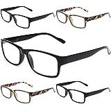 Gaoye 5-Pack Reading Glasses Blue Light Blocking,Spring Hinge Readers for Women Men Anti Glare Filter Lightweight Eyeglasses