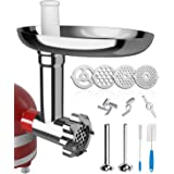 X Home Universal Food Grinder Attachment Compatible With Kitchenaid Stand Mixer Include Sausages Stuffing Tubes, Durable Meta