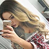Lady Miranda Ombre Wig Black To Blonde High Density Heat Resistant Synthetic Hair Weave Full Wigs For Women (Black&Blonde)