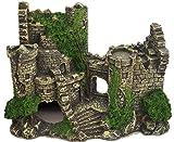 【J's select】水槽用 オブジェ 古代 遺跡 神殿 建物 アクアリウム オーナメント 装飾 城 柱 恐竜 魚 の 隠れ家に (古城)