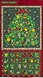 FQ-3784 クリスマスツリーのアドベントカレンダー/タペストリーパネル 金ラメ/ダークレッド/タータンチェック 59.5*110 未完成品 コットンプリント生地